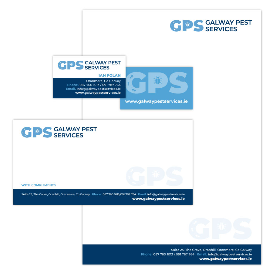 galway pest services branding and stationery