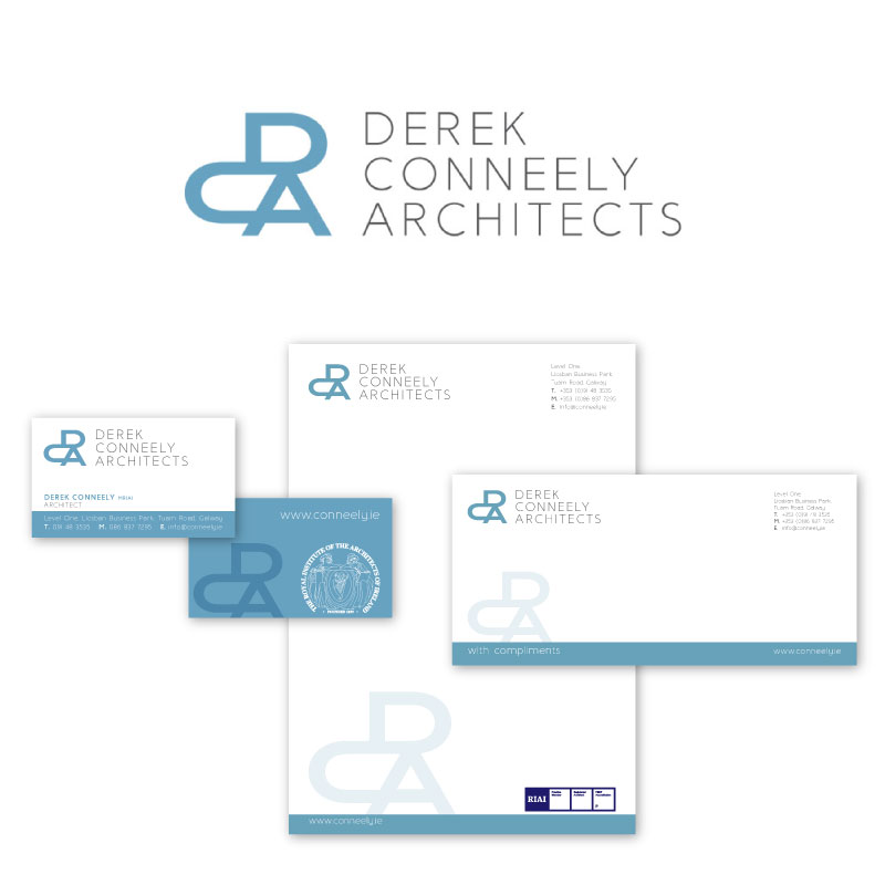 Derek Conneely logo design stationery letterhead business cards compliment slips