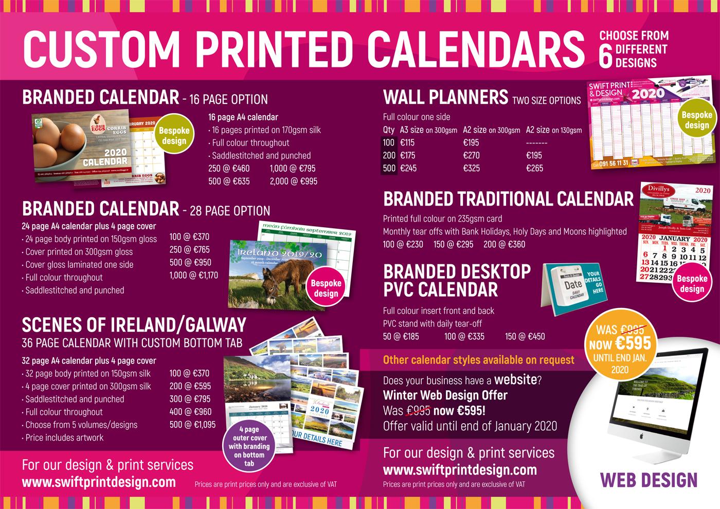 Galway calendar printing